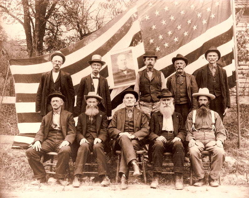 A reunion of Company E of the Tenth West Virginia Volunteer Infantry Regiment - there's a lot of character in the faces of those old soldiers.  Back row, left to right: Silas Williamson, J. Martin, Silas McGregor, J. Pickerin, and J. McHenry.  Front row, 1st man unknown, Z. Riggs, Eli Riggs, Abraham Butcher, Tommy Whaley.  Courtesy of Neil Williamson