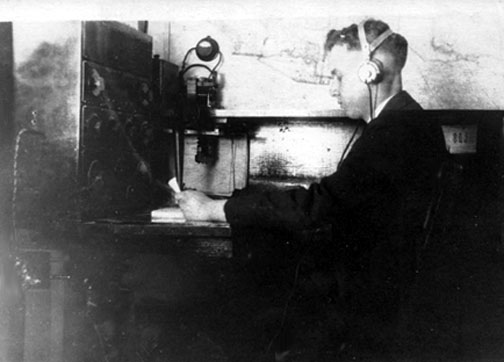 Edward C. Jones, Jr. in 1917 sending Morse code messages on 8SP