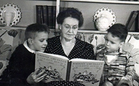 Granny (Pauline Null Henderson) reading to her grandsons